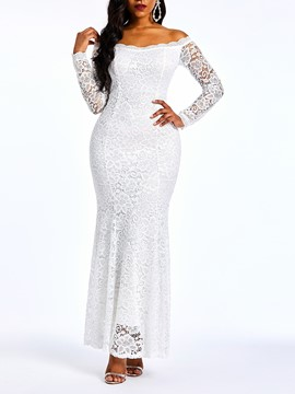 Ericdress Lace Floor-Length Slash Neck Plain Mermaid White Dress