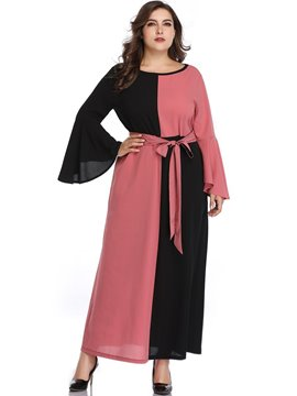Ericdress Plus Size Ankle-Length Round Neck Lace-Up Pullover Color Block Dress