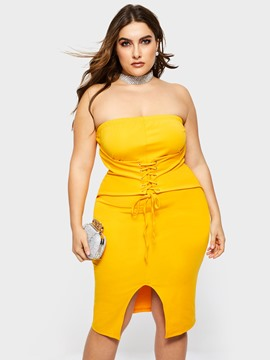 Ericdress Plus Size Lace-Up Knee-Length Sleeveless Strapless Sexy Dress