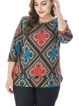 Ericdress Geometric Color Block Plus Size T-Shirt