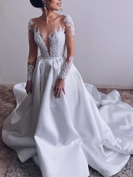 Scoop Floor-Length Chapel A-Line Hall Wedding Dress