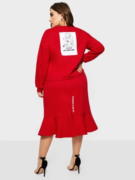 Ericdress Plus Size Sweet Letter Pullover Mermaid Hoodies And Skirt Two Piece Sets