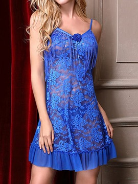 Ericdress Floral Ruffles Tassel See-Through Babydoll