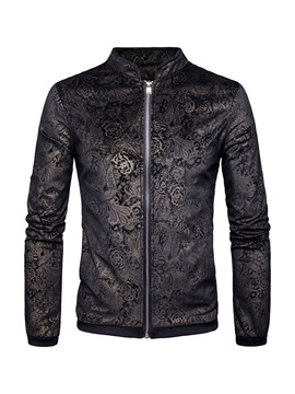 Ericdress Floral Printed Stand Collar Mens Casual Jacket