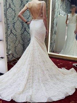 Ericdress Mermaid Sleeveless Lace Wedding Dress