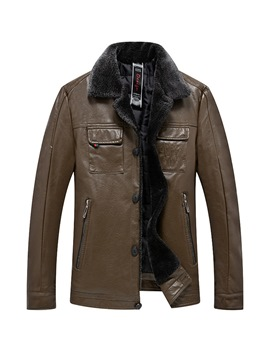 Ericdress Plain Lapel Fur Collar Mens Casual Leather Jacket