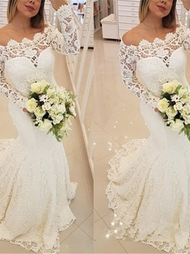 Ericdress Lace Long SleevesMermaid Beach Wedding Dress