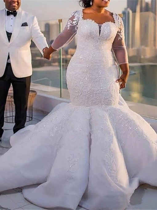 Ericdress Appliques Sleeves Mermaid Plus Size Wedding Dress 2019