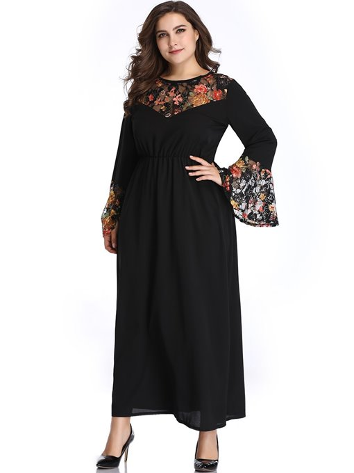 Ericdress Patchwork Ankle-Length Round Neck Flare Sleeve Plus Size Dress