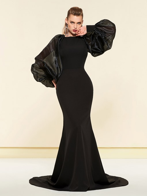 Ericdress Simple Long Sleeves Black Mermaid Evening Dress 2019