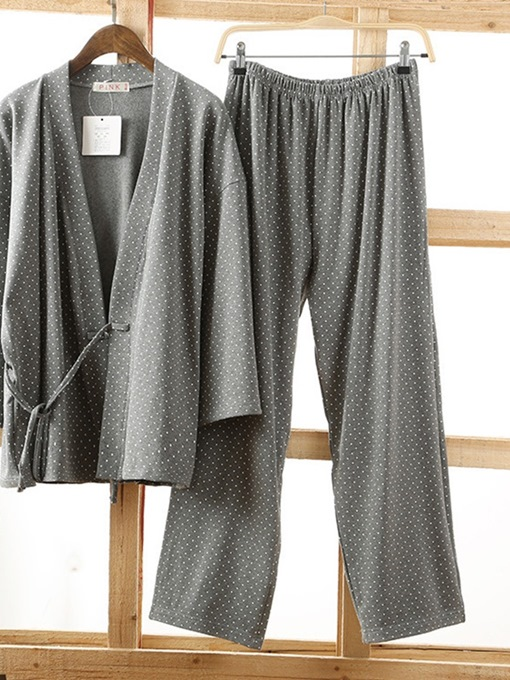 Ericdress Korean Polka Dots Lace-Up V-Neck Fall Pajamas Sets