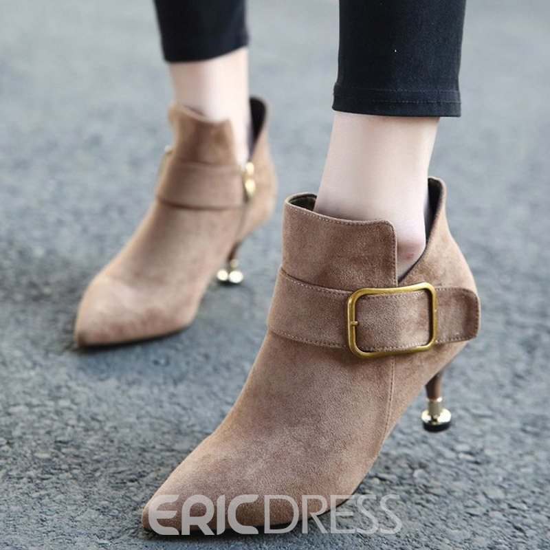 Ericdress Plain Stiletto Heel Pointed Toe Women's Ankle Boots