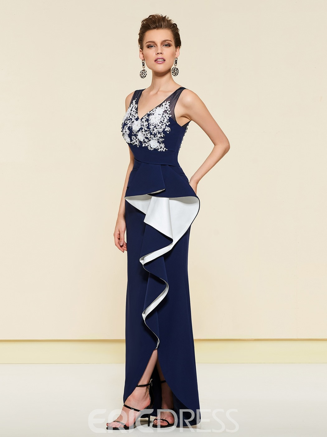 Ericdress Sheath Applique Ruffles Wedding Party Dress