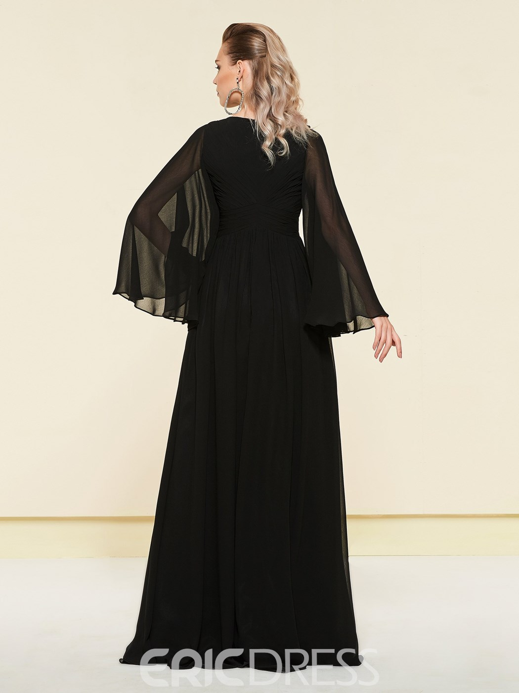 Ericdress Bateau Pleats A-Line Long Sleeves Evening Dress