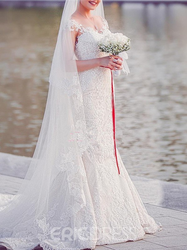 Ericdress Trumpet/Mermaid Cap Sleeves Lace Wedding Dress