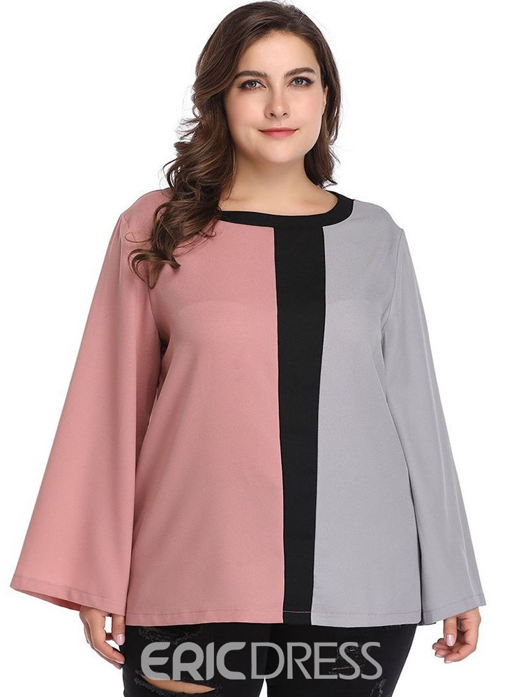 Ericdress Patchwork Color Block Plus Size Blouse