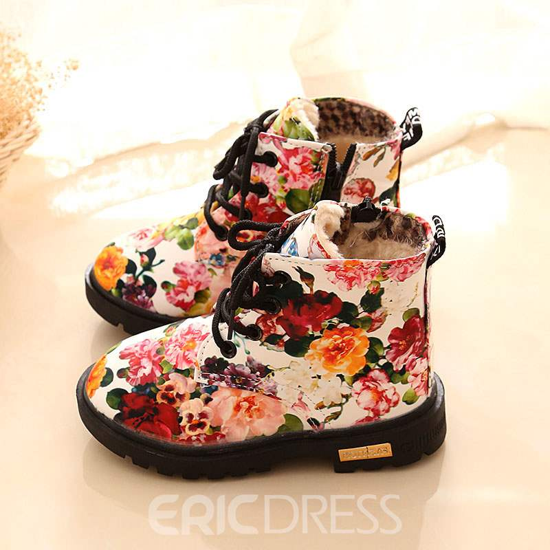 Ericdress Floral Round Toe Side Zipper Baby Boots