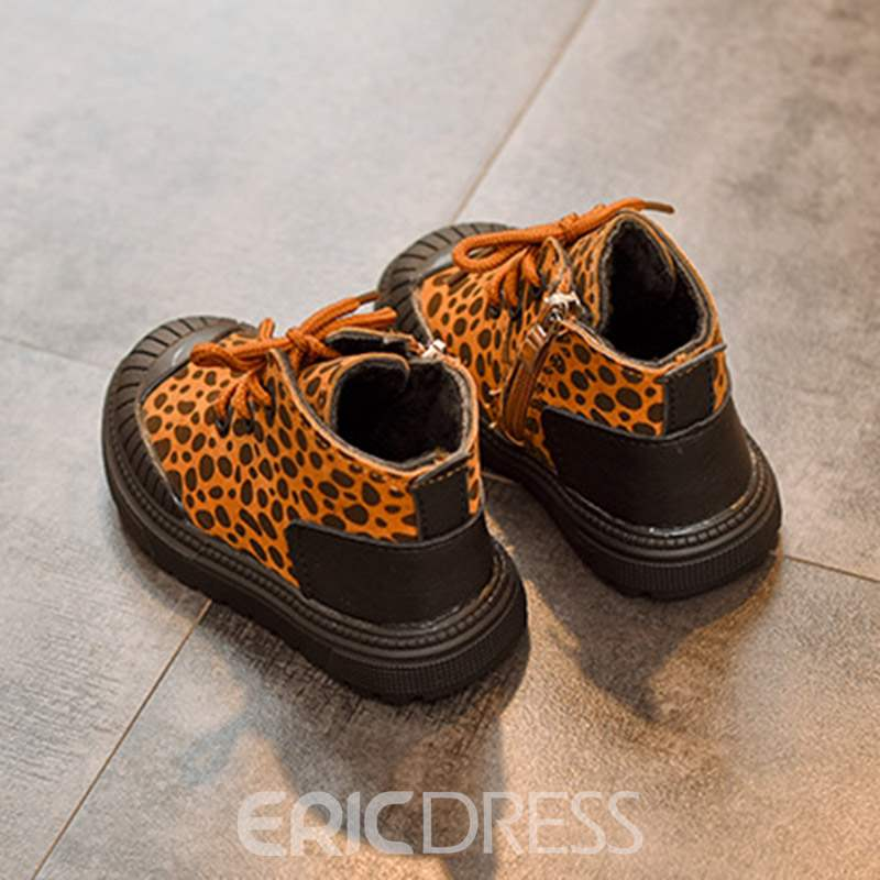 Ericdress Lace-Up Leopard Print Baby Boots
