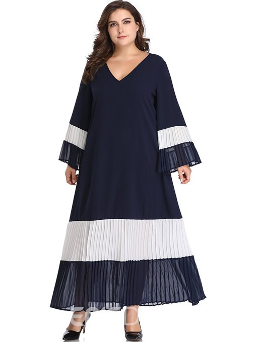 Ericdress Pleated V-Neck Long Sleeve Plus Size Going Out Expansion Dress