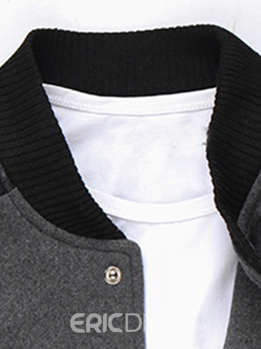 Ericdress Plain Patchwork Stand Collar Single-Breasted Mens Jacket