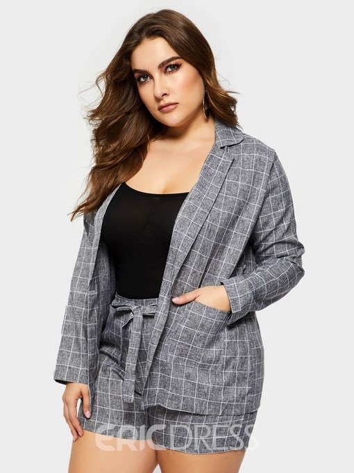 Ericdress Plus Size Lace-Up Plaid Wide Legs Casual Coat And Shorts Two Piece Sets