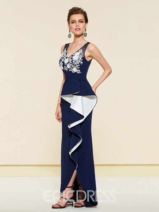 Ericdress Sheath Applique Ruffles Wedding Party Dress 2019