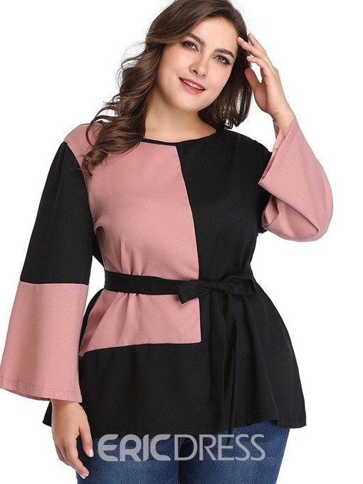 Ericdress Patchwork Lace-Up Flare Sleeve Plus Size Blouse