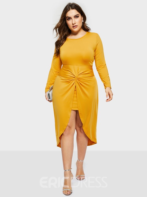 Ericdress Plus Size Ankle-Length Three-Quarter Sleeve Swallowtail Pullover Bodycon Dress