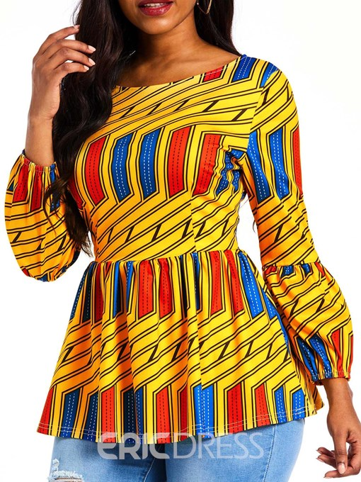 Ericdress Color Block Print Nine Points Sleeve Standard Blouse