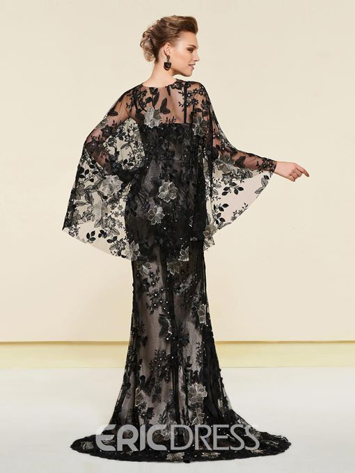 Ericdress Straps Lace Mother of the Bride Dress with Cape