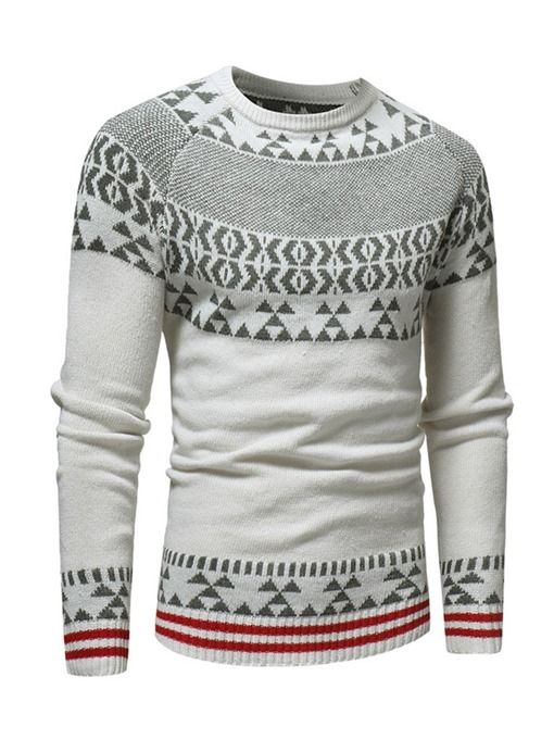 Ericdress Color Block Round Neck Mens Casual Sweater