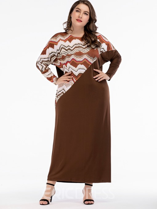 Ericdress Plus Size Ankle-Length Patchwork Round Neck Pullover Color Block Dress