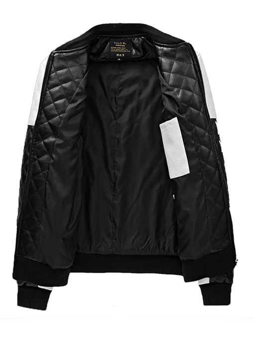 Ericdress Patchwork Stand Collar Color Block Mens Leather Jacket