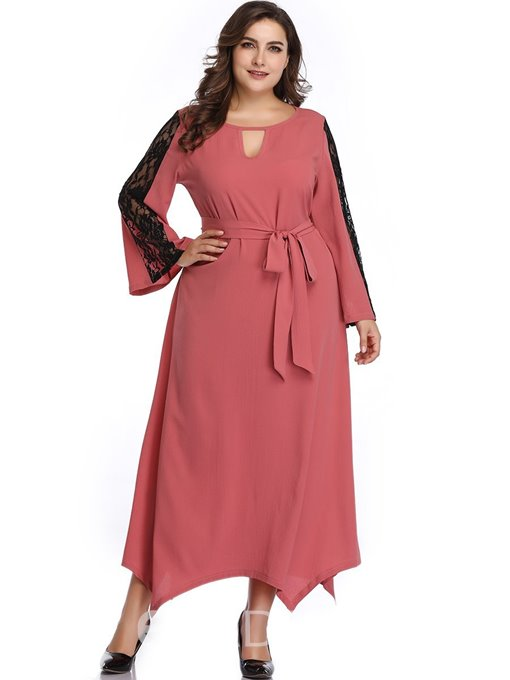 Ericdress Long Sleeve Ankle-Length Hollow A-Line Standard-Waist Plus Size Dress