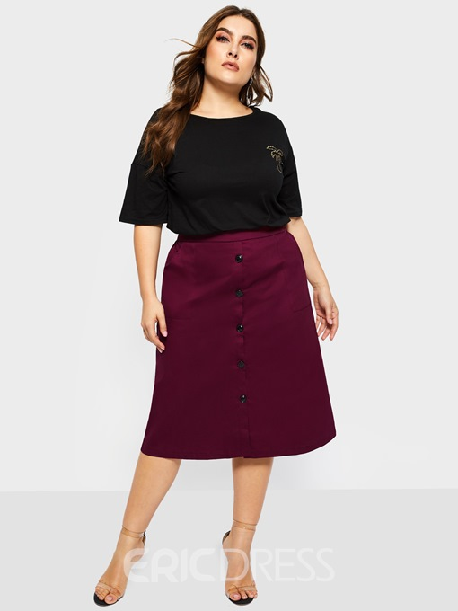 Ericdress Plus Size A-Line Button Plain Casual Skirt
