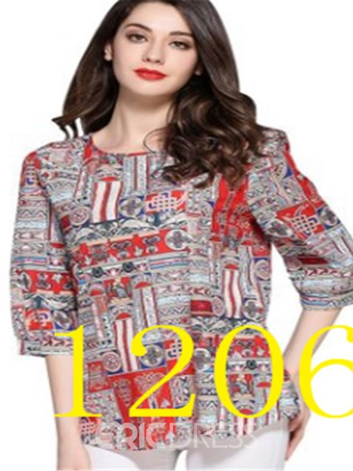 Ericdress Color Block Print Regular Plus Size Blouse