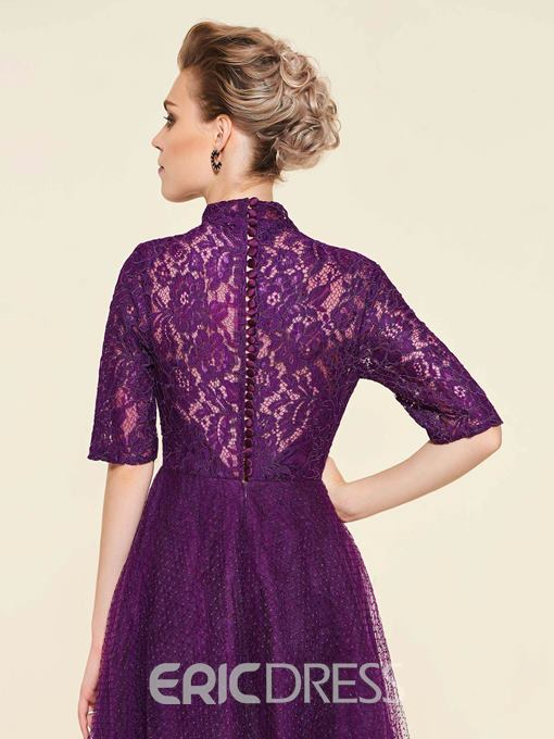 Ericdress Half Sleeve High Neck Lace Mother Of The Bride Dress 2019