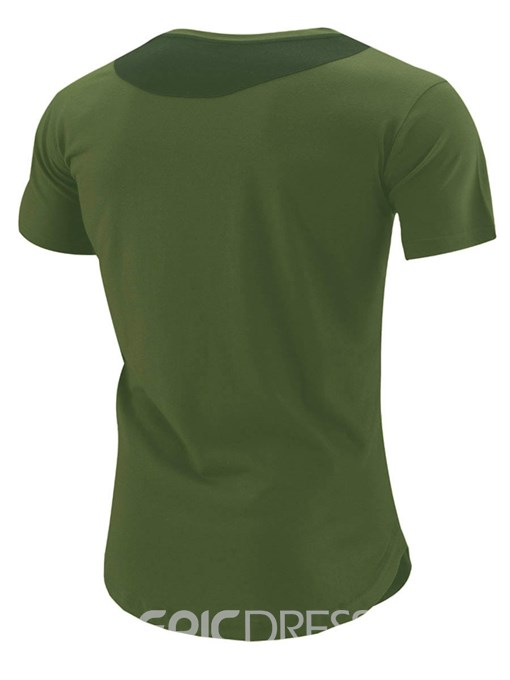 Ericdress Zip Pocket Patched Casual Short Sleeve Men's T-Shirt