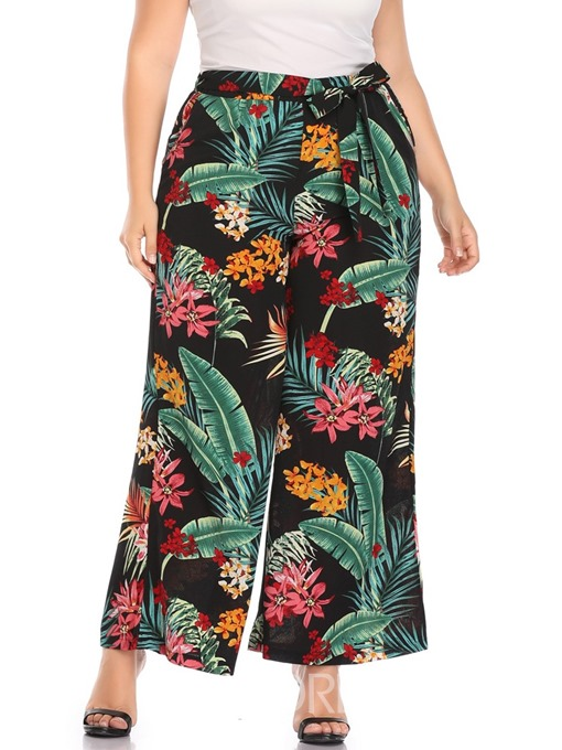 Ericdress Plus Size Floral Print Loose High Waist Casual Pants