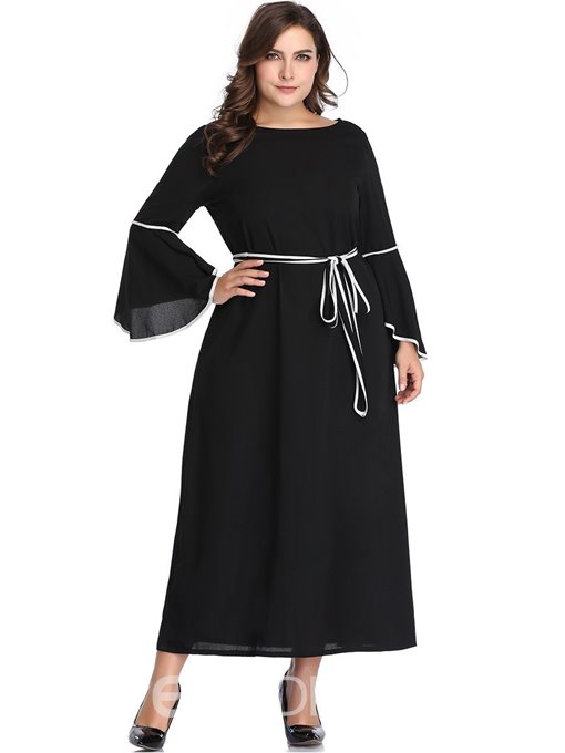Ericdress Plus Size Lace-Up Flare Sleeve A-Line Standard-Waist Dress