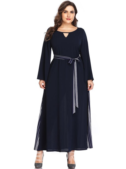 Ericdress Plus Size Ankle-Length Lace-Up Long Sleeve Pullover Color Block Dress
