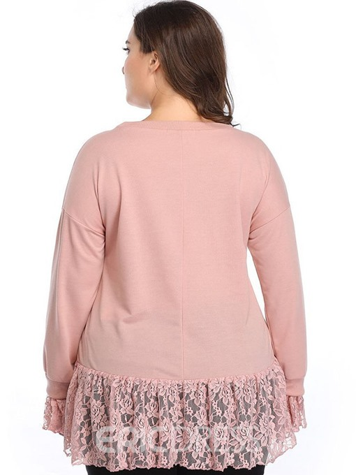 Ericdress Patchwork Lace Plus Size Flare Sleeve Blouse