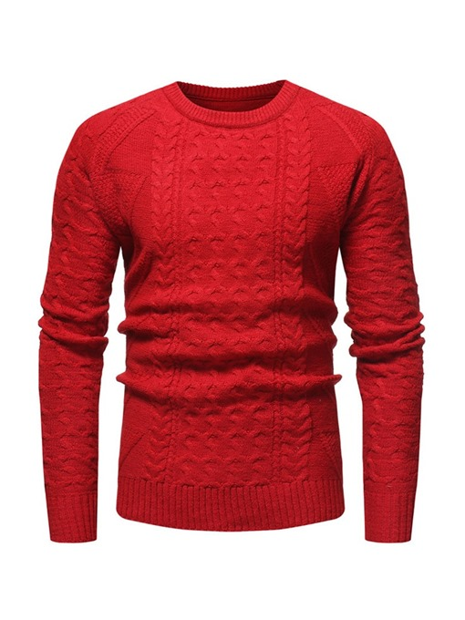 Ericdress Plain Round Neck Mens Casual Sweater
