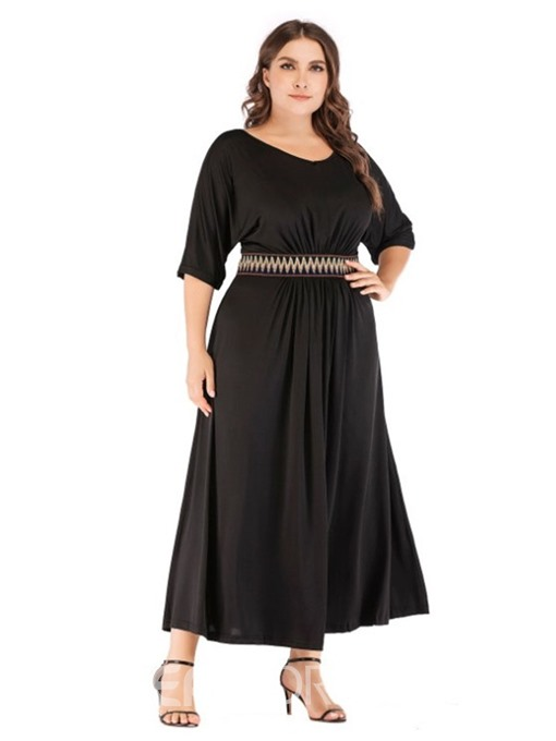 Ericdress Plus Size Ankle-Length Half Sleeve A-Line Standard-Waist Dress