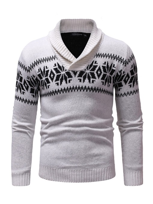 Ericdress Patchwork Lapel Mens Casual Pullover Sweater
