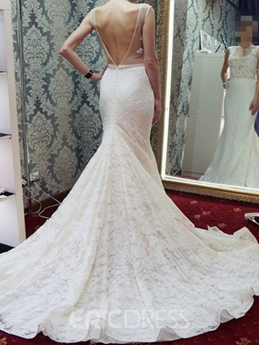 Ericdress Mermaid Sleeveless Lace Wedding Dress 2019