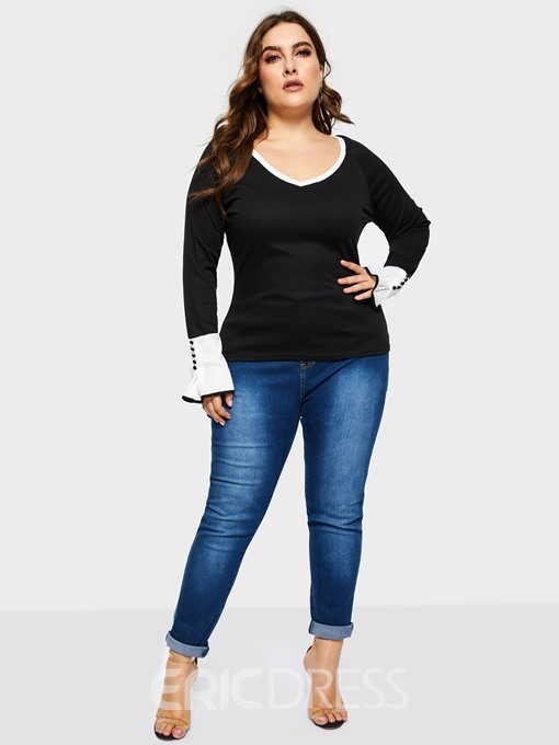 Ericdress Patchwork Bead Plus Size T-Shirt