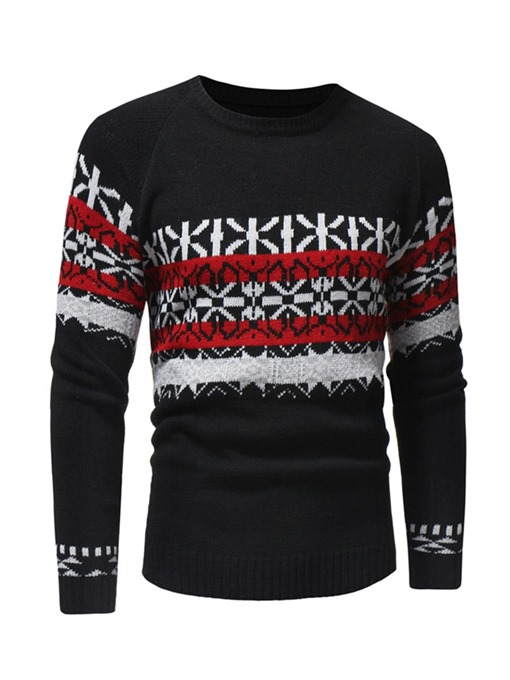Ericdress Patchwork Cplor Block Paisley Mens Casual Sweaters