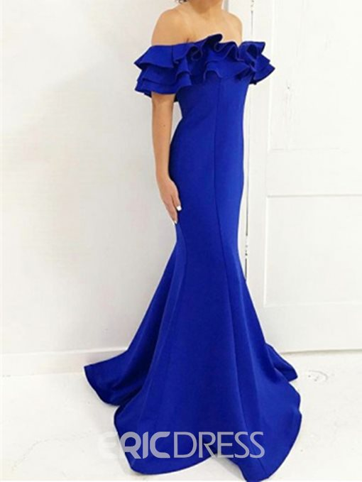 Ruffle Off-The-Shoulder Floor-Length Mermaid Evening Dress