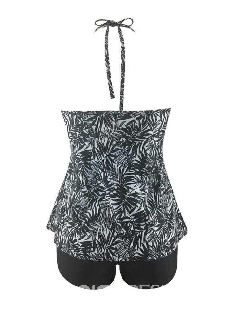 Ericdress Lace-Up Plant Beach Look Plus Size Swimwear